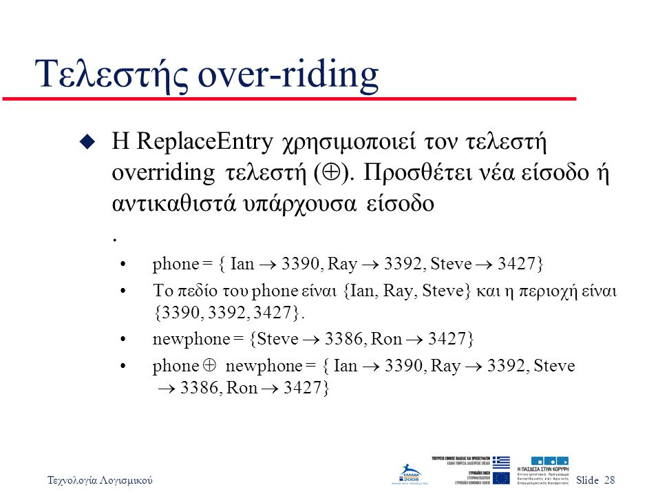 Τεχνολογία ΛογισμικούSlide 28 Τελεστής over-riding  Η ReplaceEntry χρησιμοποιεί τον τελεστή overriding τελεστή (  ).