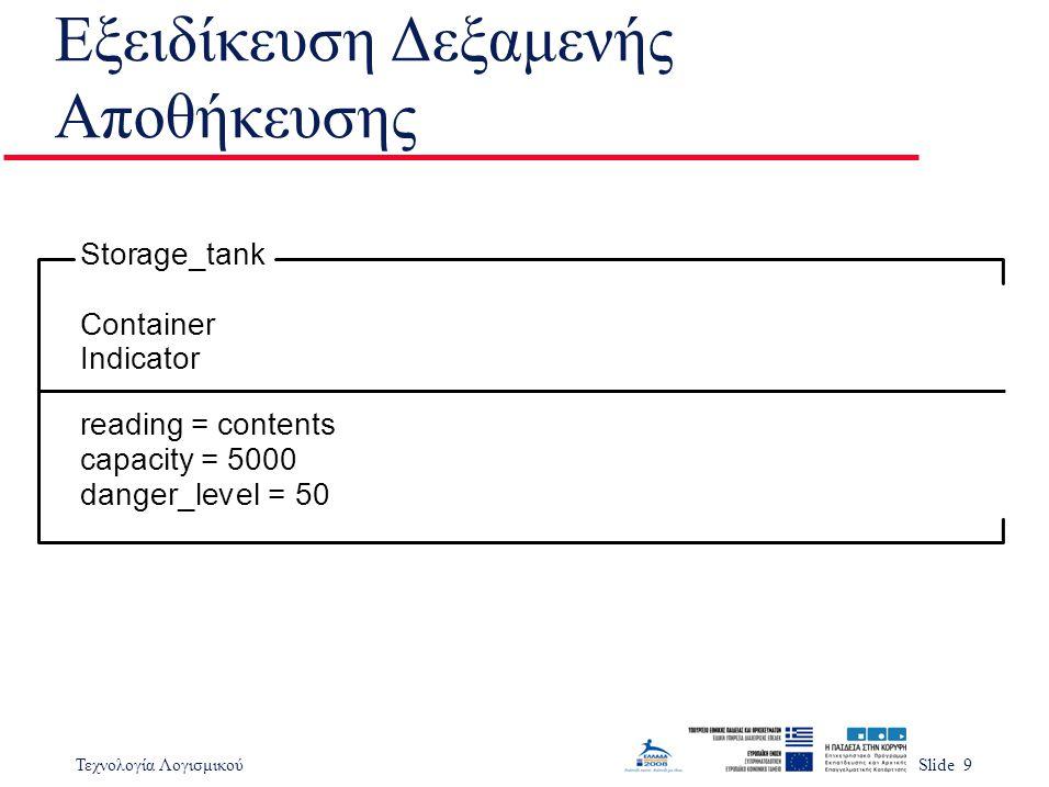 Τεχνολογία ΛογισμικούSlide 9 Εξειδίκευση Δεξαμενής Αποθήκευσης reading = contents capacity = 5000 danger_level = 50 Storage_tank Container Indicator