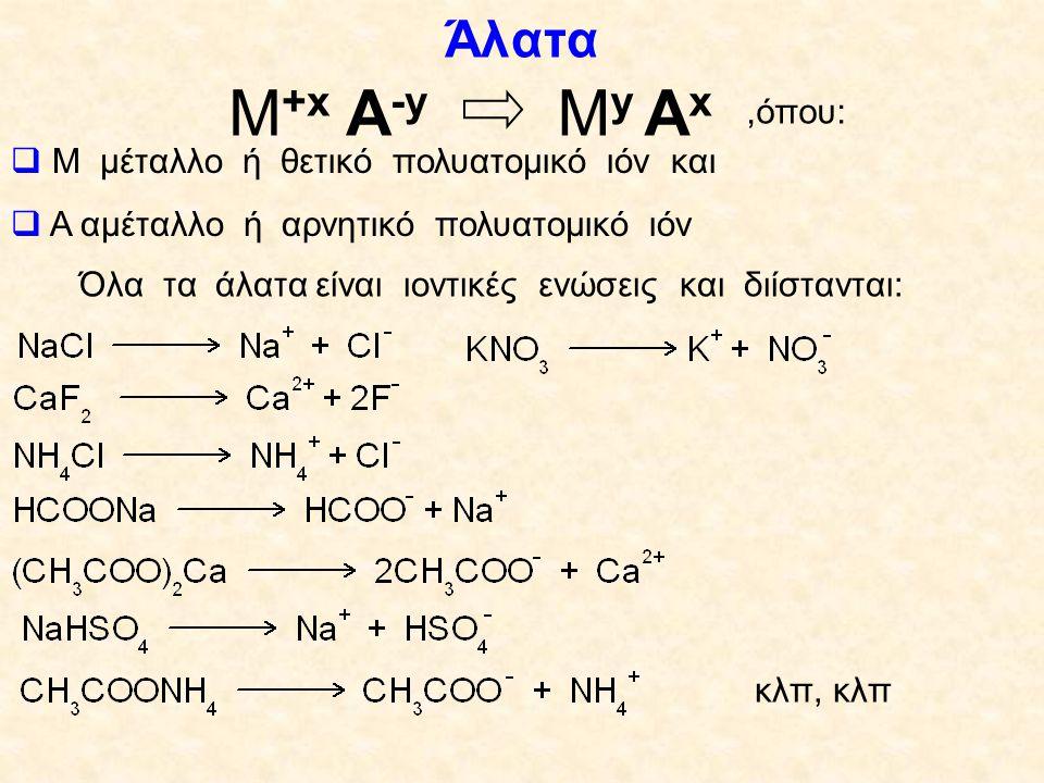 Ονοματολογία των κυριότερων πολυατομικών ιόντων CN - : κυάνιοSO 4 -2 : θειικό OH - : υδροξύλιοSO 3 -2 : θειώδες ClO 4 - :υπερχλωρικόHSO 4 - :όξινο θειικό ClO 3 - :χλωρικόCO 3 -2 : ανθρακικό ClO 2 - : χλωριώδεςΗCO 3 - : όξινο ανθρακικό ClO - : υποχλωριώδεςPO 4 -3 : φωσφορικό NO 3 - : νιτρικόΗPO 4 -2 : όξινο φωσφορικό NO 2 - : νιτρώδεςΗ 2 PO 4 - : δισόξινο φωσφορικό NH 4 + : αμμώνιο