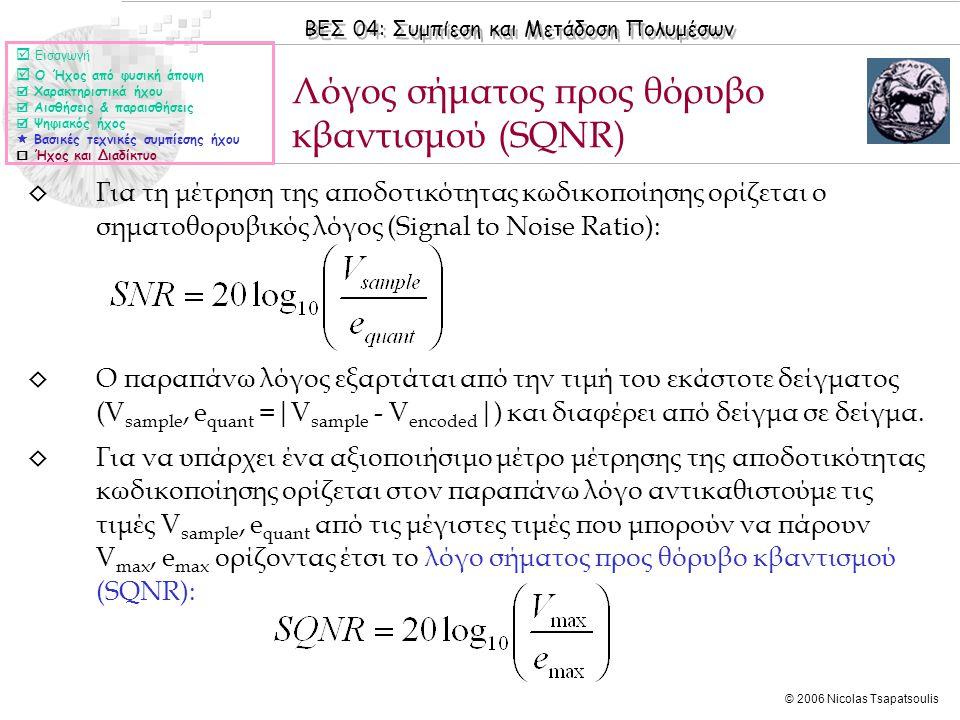 ΒΕΣ 04: Συμπίεση και Μετάδοση Πολυμέσων © 2006 Nicolas Tsapatsoulis ◊ Για τη μέτρηση της αποδοτικότητας κωδικοποίησης ορίζεται ο σηματοθορυβικός λόγος