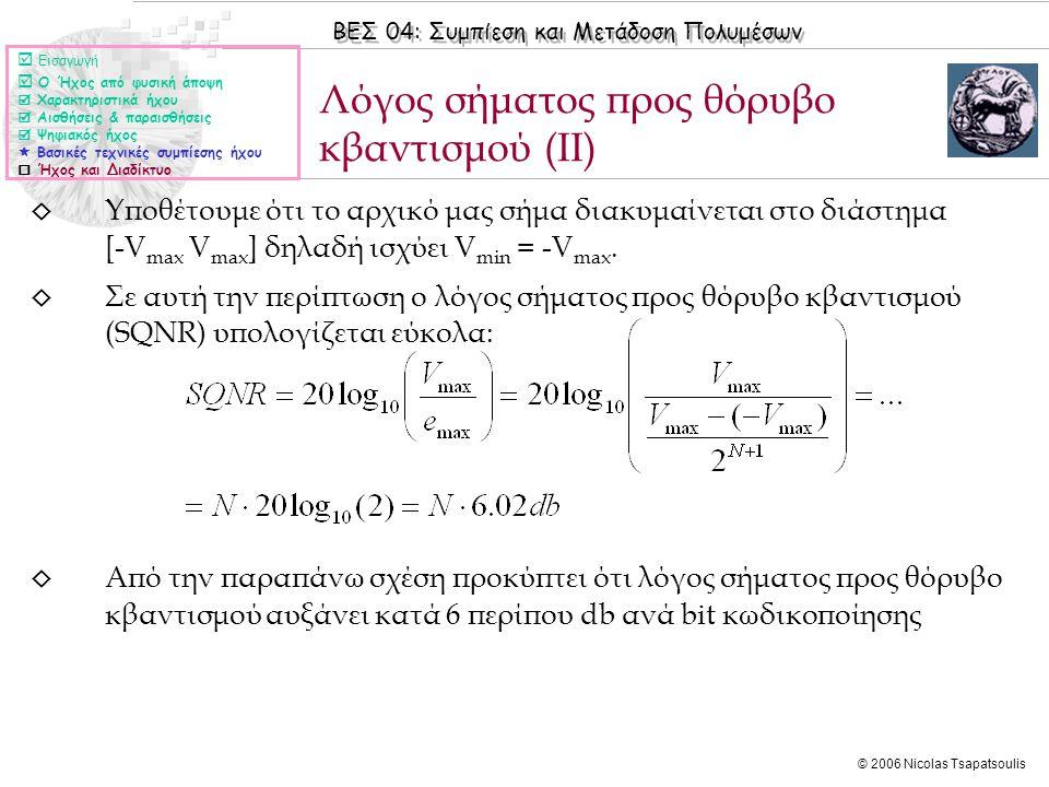 ΒΕΣ 04: Συμπίεση και Μετάδοση Πολυμέσων © 2006 Nicolas Tsapatsoulis ◊ Υποθέτουμε ότι το αρχικό μας σήμα διακυμαίνεται στο διάστημα [-V max V max ] δηλ
