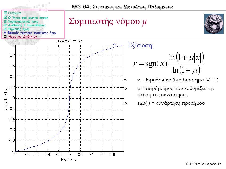 ΒΕΣ 04: Συμπίεση και Μετάδοση Πολυμέσων © 2006 Nicolas Tsapatsoulis ◊ Εξίσωση: ◊ x = input value (στο διάστημα [-1 1]) ◊ μ = παράμετρος που καθορίζει