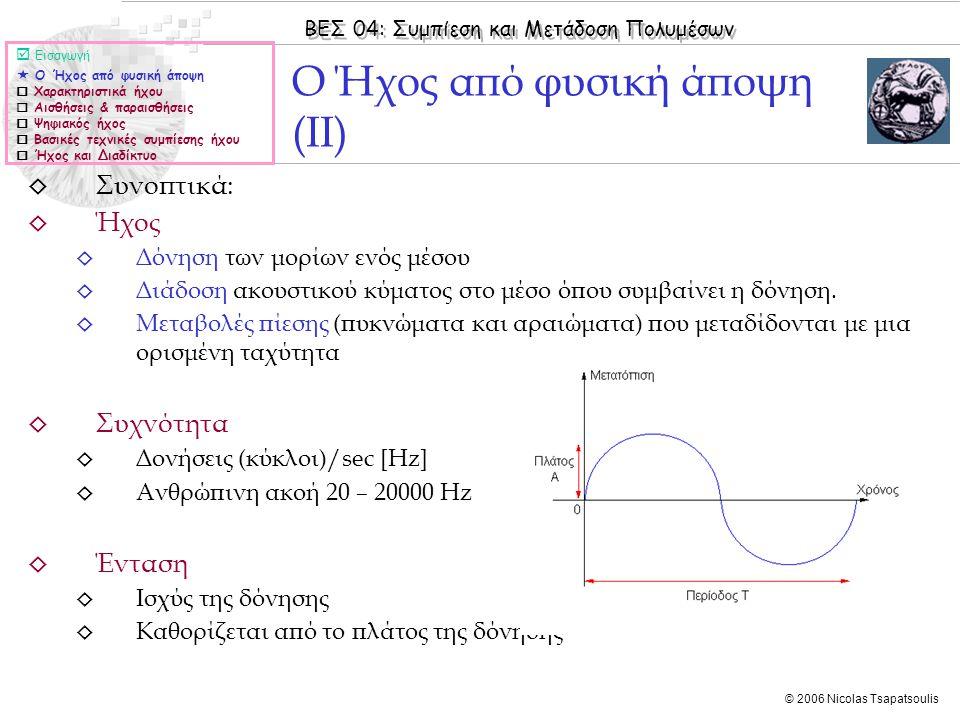 ΒΕΣ 04: Συμπίεση και Μετάδοση Πολυμέσων © 2006 Nicolas Tsapatsoulis ◊ Συνοπτικά: ◊ Ήχος ◊ Δόνηση των μορίων ενός μέσου ◊ Διάδοση ακουστικού κύματος στ