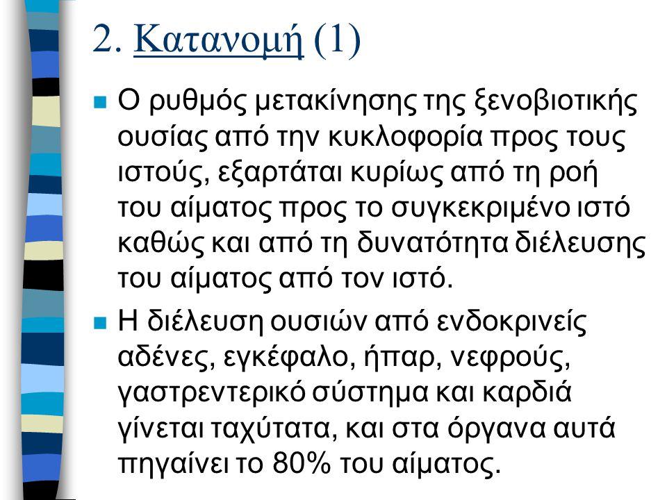 2. Κατανομή (1) n Ο ρυθμός μετακίνησης της ξενοβιοτικής ουσίας από την κυκλοφορία προς τους ιστούς, εξαρτάται κυρίως από τη ροή του αίματος προς το συ
