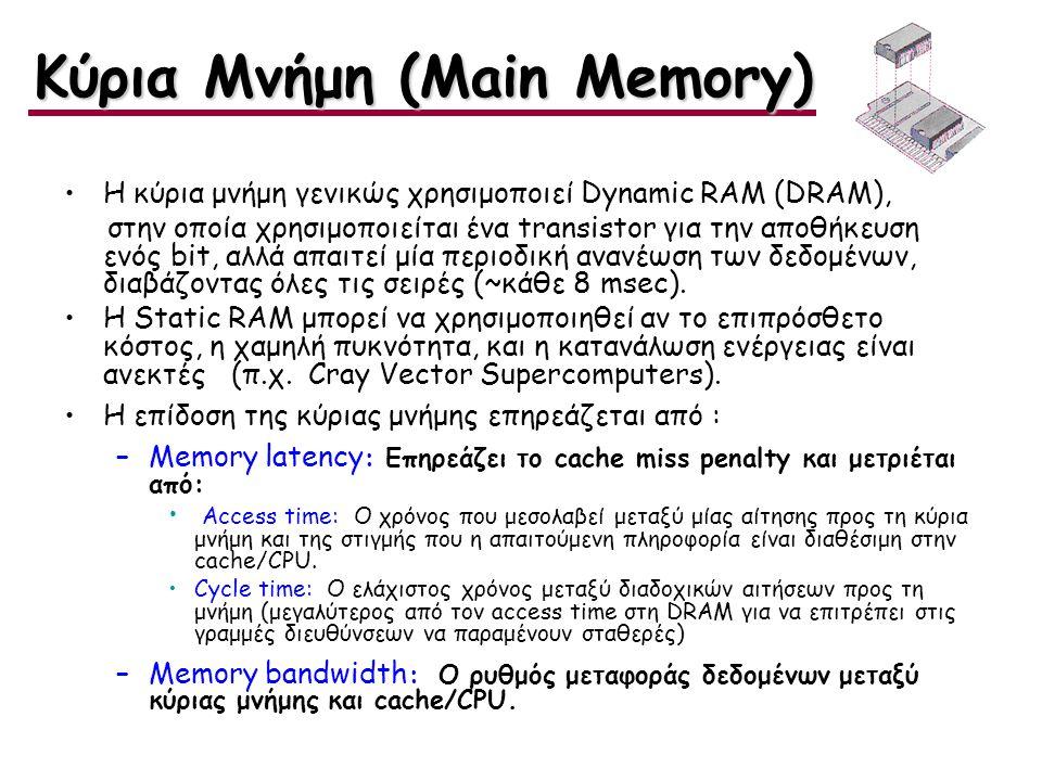 Η κύρια μνήμη γενικώς χρησιμοποιεί Dynamic RAM (DRAM), στην οποία χρησιμοποιείται ένα transistor για την αποθήκευση ενός bit, αλλά απαιτεί μία περιοδι