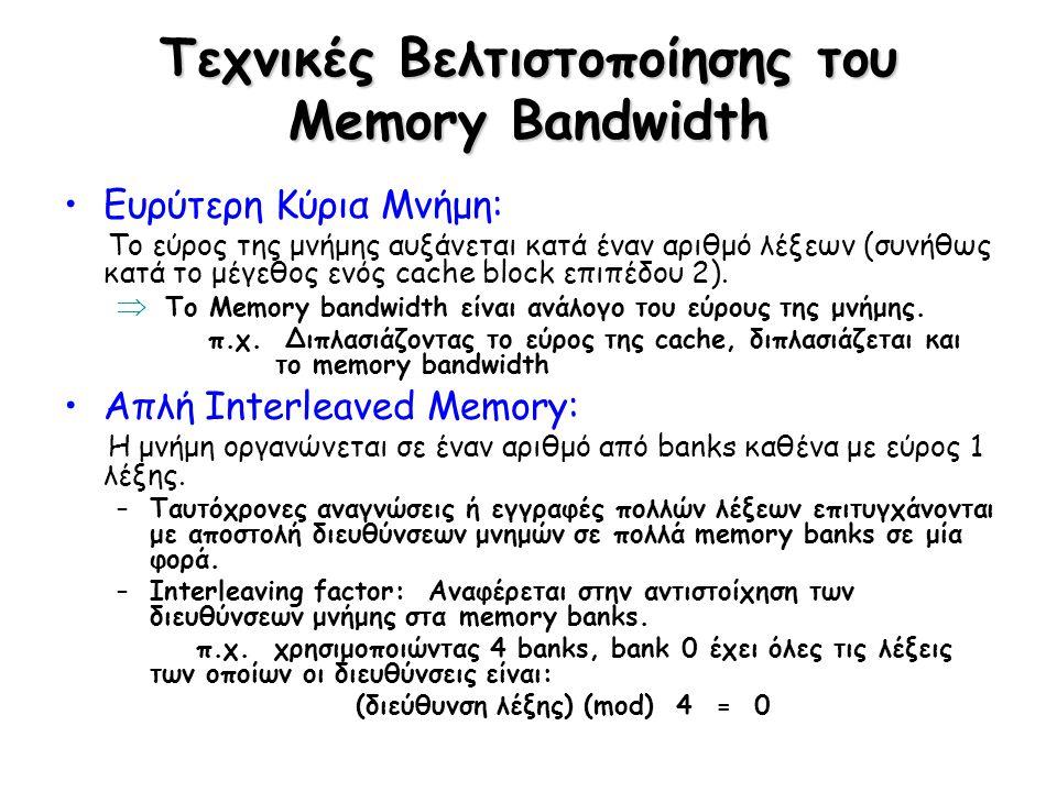 Τεχνικές Βελτιστοποίησης του Memory Bandwidth Ευρύτερη Κύρια Μνήμη: Το εύρος της μνήμης αυξάνεται κατά έναν αριθμό λέξεων (συνήθως κατά το μέγεθος ενό