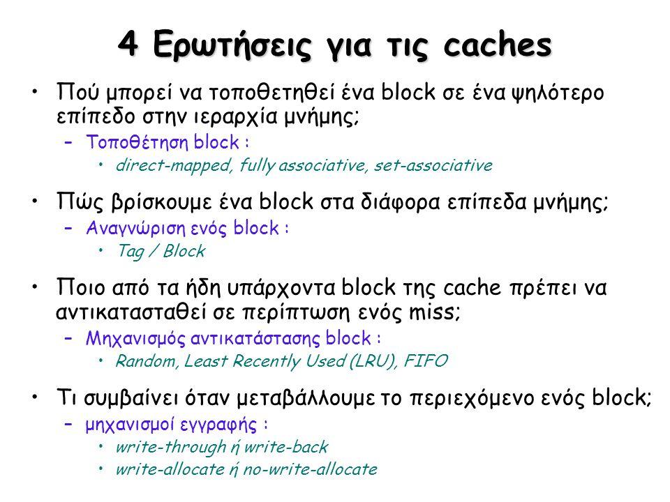 4 Ερωτήσεις για τις caches Πού μπορεί να τοποθετηθεί ένα block σε ένα ψηλότερο επίπεδο στην ιεραρχία μνήμης; –Τοποθέτηση block : direct-mapped, fully