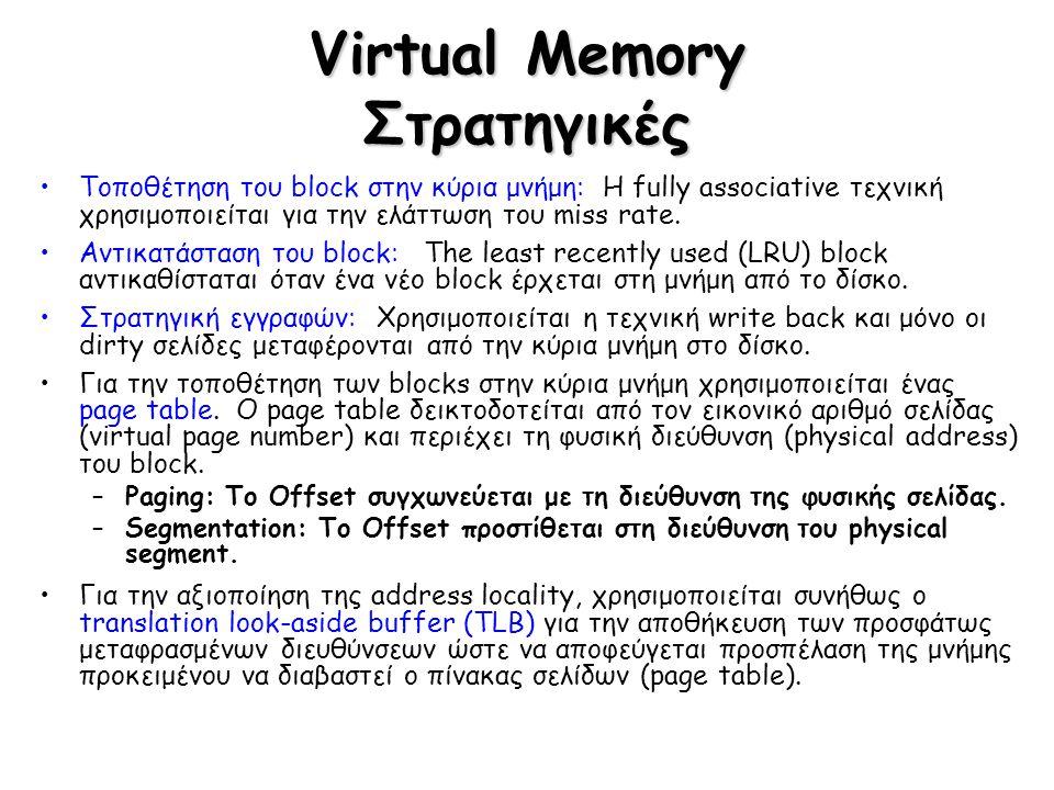 Virtual Memory Στρατηγικές Τοποθέτηση του block στην κύρια μνήμη: Η fully associative τεχνική χρησιμοποιείται για την ελάττωση του miss rate. Αντικατά