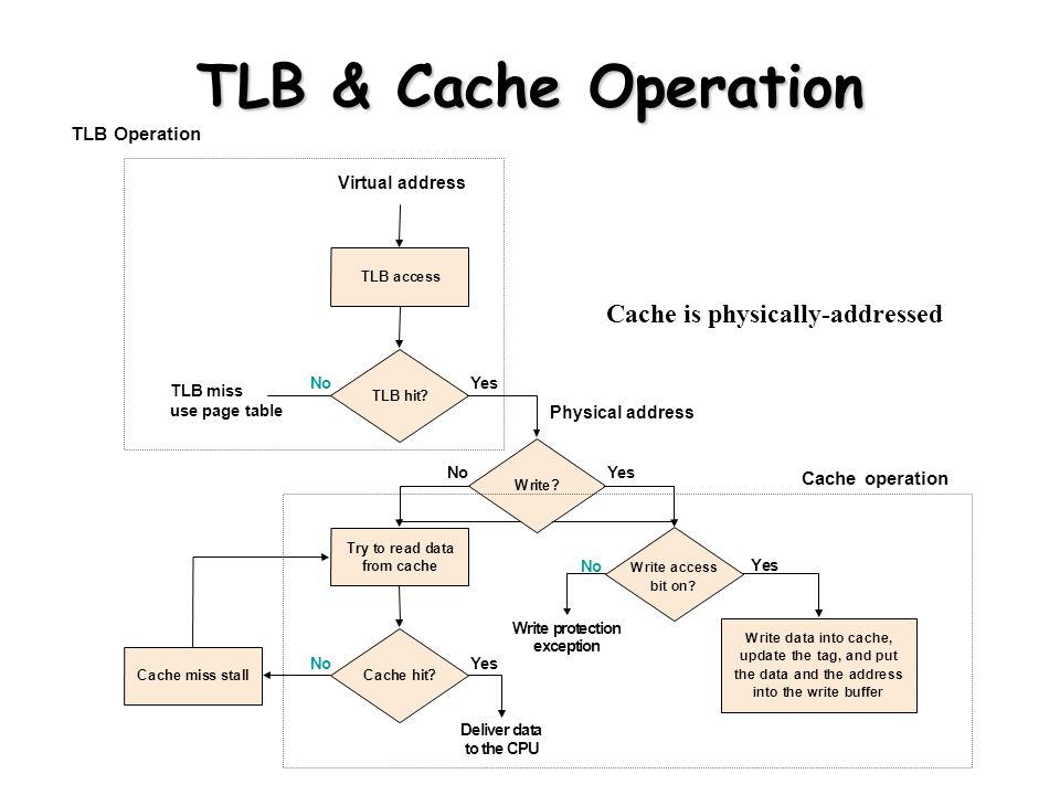 TLB & Cache Operation Cache is physically-addressed TLB Operation