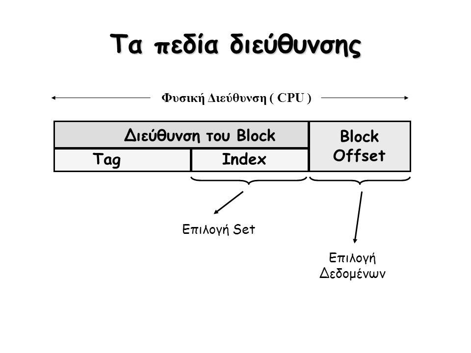 Τα πεδία διεύθυνσης Διεύθυνση του Block Block Offset TagIndex Φυσική Διεύθυνση ( CPU ) Επιλογή Set Επιλογή Δεδομένων