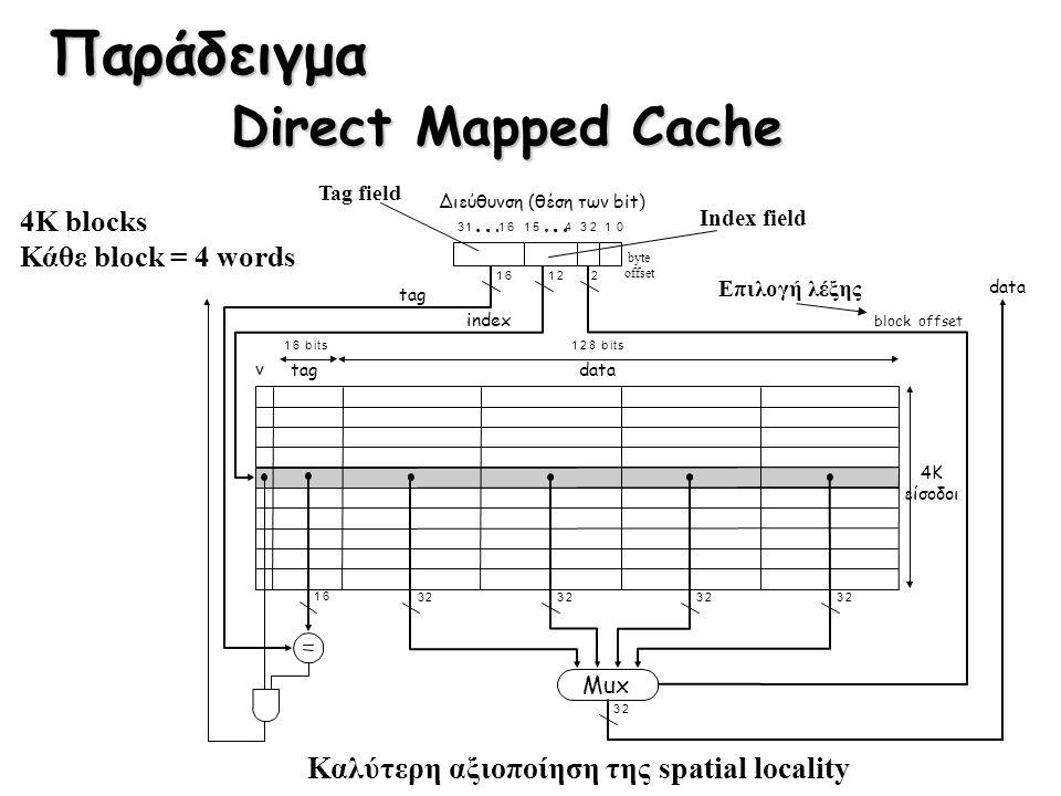 Παράδειγμα Direct Mapped Cache 4K blocks Κάθε block = 4 words Καλύτερη αξιοποίηση της spatial locality