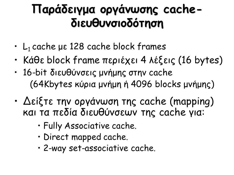 Παράδειγμα οργάνωσης cache- διευθυνσιοδότηση L 1 cache με 128 cache block frames Κάθε block frame περιέχει 4 λέξεις (16 bytes) 16-bit διευθύνσεις μνήμ