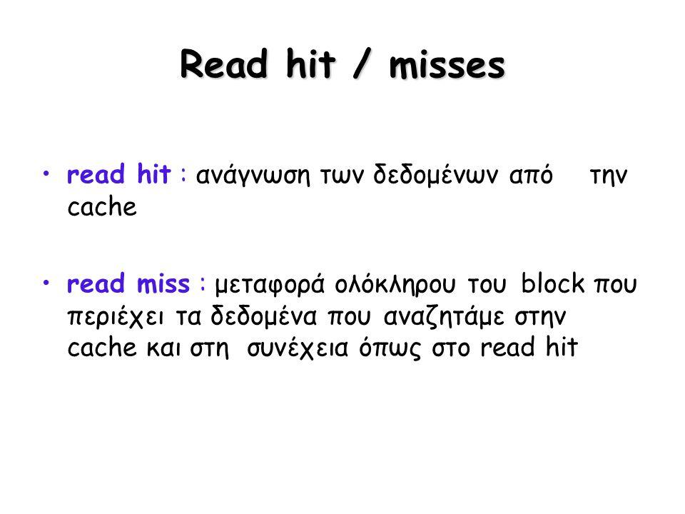 Read hit / misses read hit : ανάγνωση των δεδομένων από την cache read miss : μεταφορά ολόκληρου του block που περιέχει τα δεδομένα που αναζητάμε στην