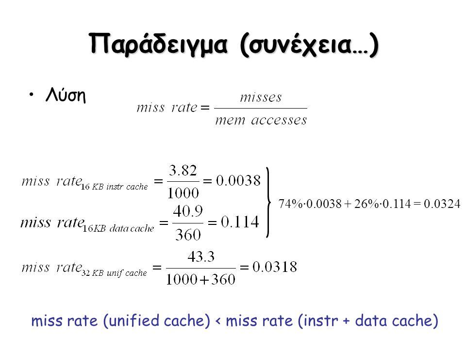 Παράδειγμα (συνέχεια…) Λύση 74%·0.0038 + 26%·0.114 = 0.0324 miss rate (unified cache) < miss rate (instr + data cache)