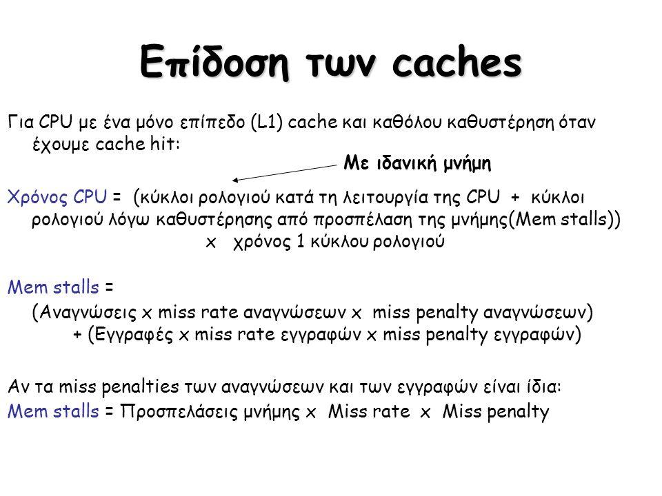 Επίδοση των caches Για CPU με ένα μόνο επίπεδο (L1) cache και καθόλου καθυστέρηση όταν έχουμε cache hit: Χρόνος CPU = (κύκλοι ρολογιού κατά τη λειτουρ