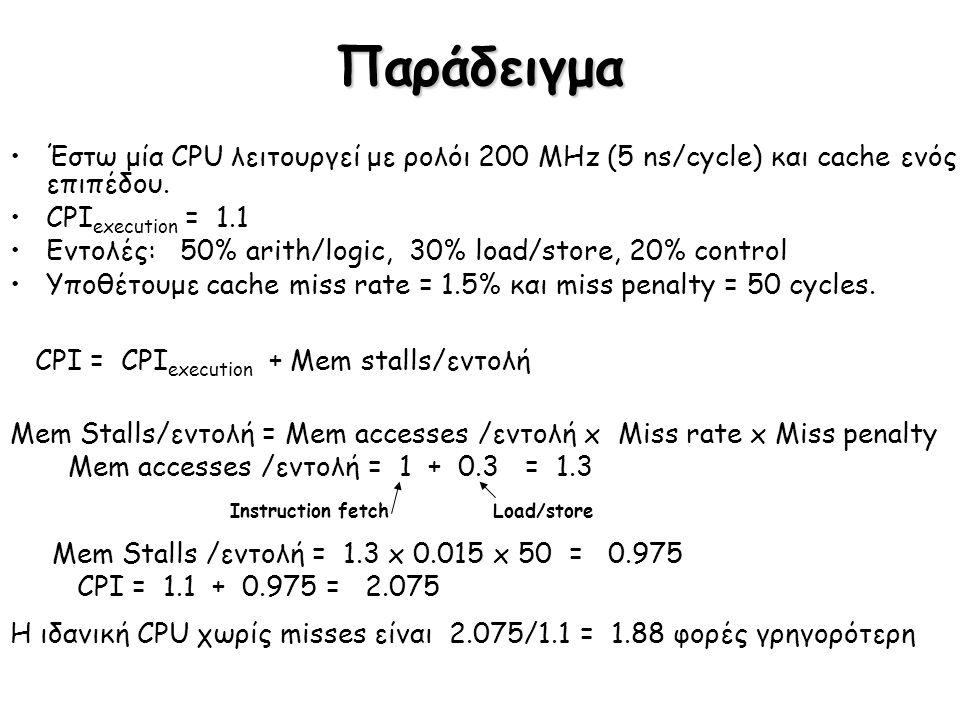 Παράδειγμα Έστω μία CPU λειτουργεί με ρολόι 200 MHz (5 ns/cycle) και cache ενός επιπέδου. CPI execution = 1.1 Εντολές: 50% arith/logic, 30% load/store