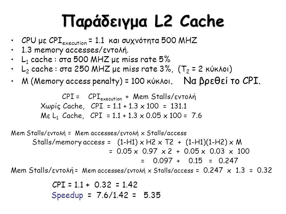 Παράδειγμα L2 Cache CPU με CPI execution = 1.1 και συχνότητα 500 MHZ 1.3 memory accesses/εντολή. L 1 cache : στα 500 MHZ με miss rate 5% L 2 cache : σ