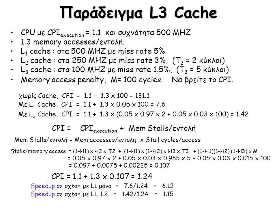 Παράδειγμα L3 Cache CPU με CPI execution = 1.1 και συχνότητα 500 MHZ 1.3 memory accesses/εντολή. L 1 cache : στα 500 MHZ με miss rate 5% L 2 cache : σ