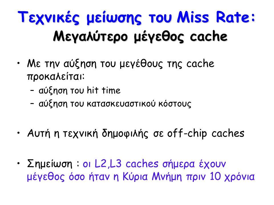 Τεχνικές μείωσης του Miss Rate: Μεγαλύτερο μέγεθος cache Με την αύξηση του μεγέθους της cache προκαλείται: –αύξηση του hit time –αύξηση του κατασκευασ