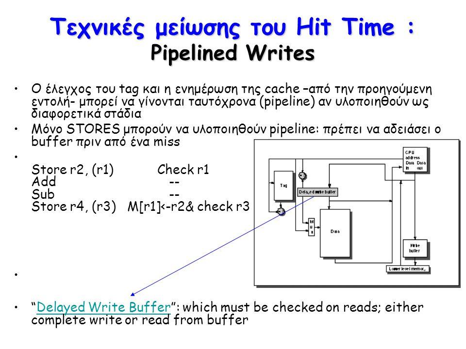 Τεχνικές μείωσης του Hit Time : Pipelined Writes Ο έλεγχος του tag και η ενημέρωση της cache –από την προηγούμενη εντολή- μπορεί να γίνονται ταυτόχρον