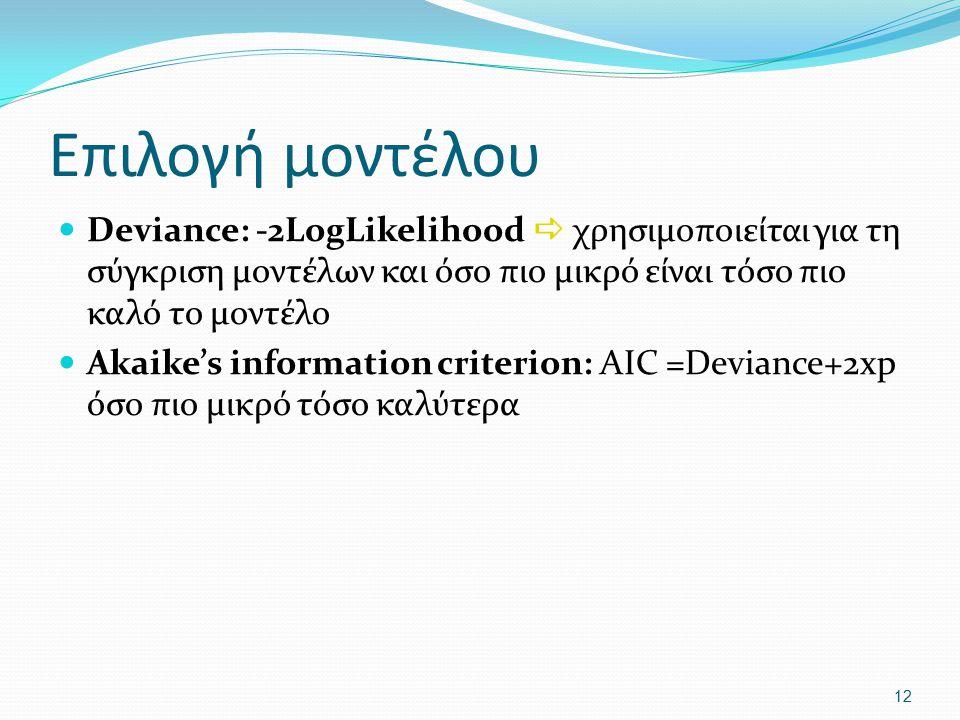 Επιλογή μοντέλου Deviance: -2LogLikelihood  χρησιμοποιείται για τη σύγκριση μοντέλων και όσο πιο μικρό είναι τόσο πιο καλό το μοντέλο Akaike's inform