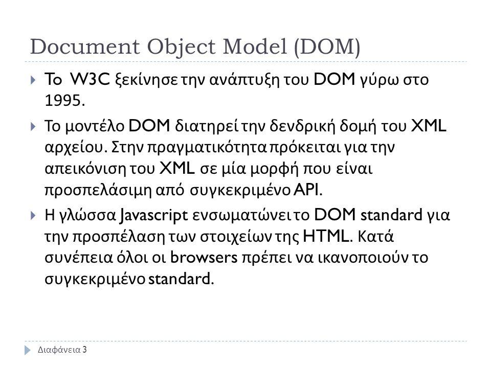 Document Object Model (DOM)  To W3C ξεκίνησε την ανάπτυξη του DOM γύρω στο 1995.  Το μοντέλο DOM διατηρεί την δενδρική δομή του XML αρχείου. Στην πρ