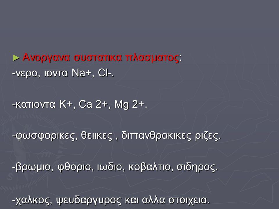 ► Ανοργανα συστατικα πλασματος: -νερο, ιοντα Na+, Cl-. -κατιοντα K+, Ca 2+, Mg 2+. -φωσφορικες, θειικες, διττανθρακικες ριζες. -βρωμιο, φθοριο, ιωδιο,