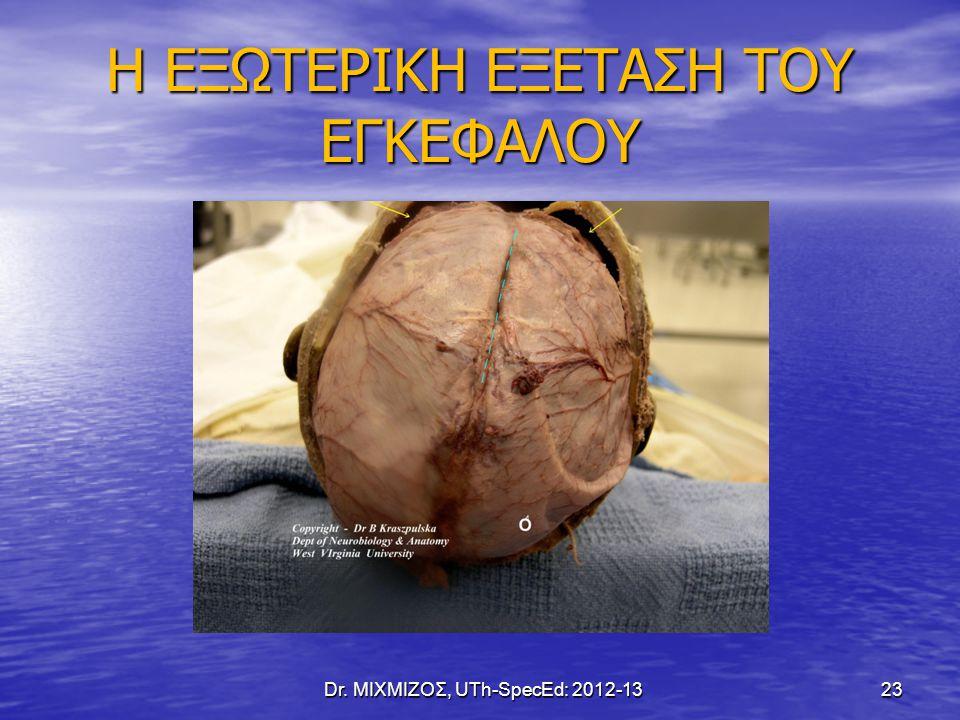 Η ΕΞΩΤΕΡΙΚΗ ΕΞΕΤΑΣΗ ΤΟΥ ΕΓΚΕΦΑΛΟΥ Dr. ΜΙΧΜΙΖΟΣ, UTh-SpecEd: 2012-13 23