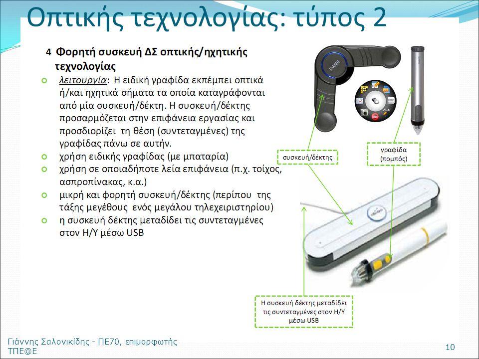 Οπτικής τεχνολογίας: τύπος 2 Γιάννης Σαλονικίδης - ΠΕ70, επιμορφωτής ΤΠΕ@Ε 10
