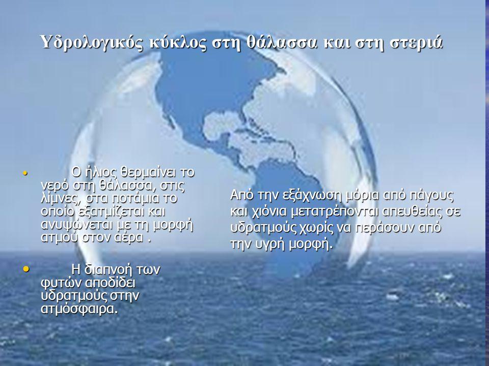 Υδρολογικός κύκλος στη θάλασσα και στη στεριά Ο ήλιος θερμαίνει το νερό στη θάλασσα, στις λίμνες, στα ποτάμια το οποίο εξατμίζεται και ανυψώνεται με τ