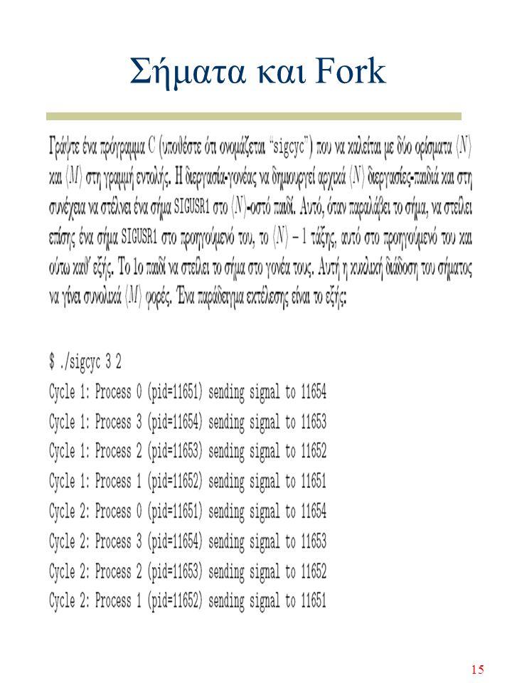 15 Σήματα και Fork