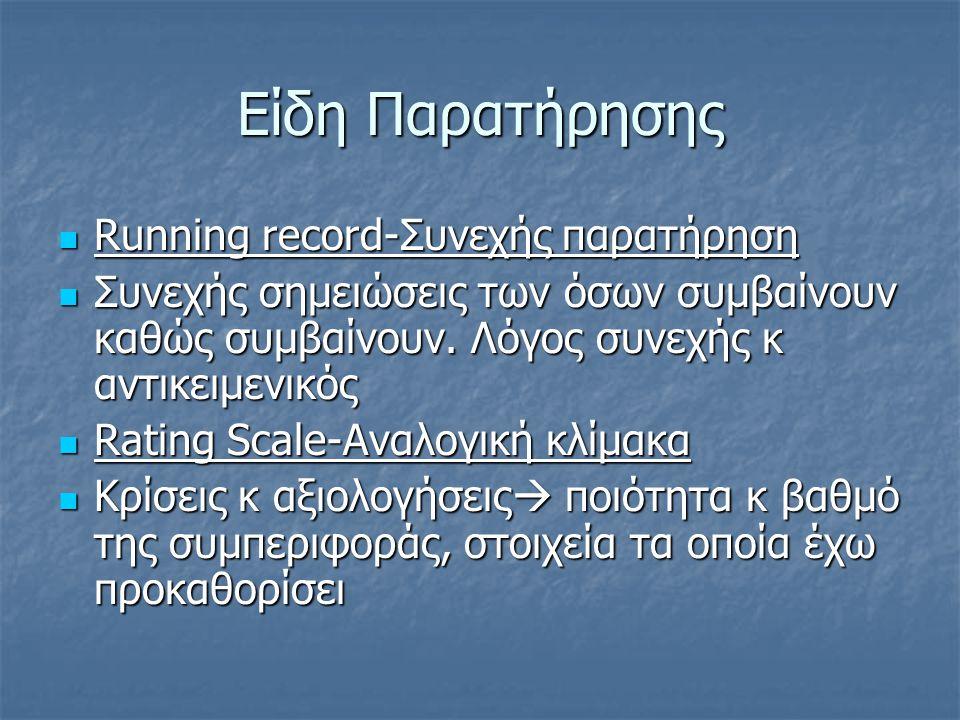 Είδη Παρατήρησης Running record-Συνεχής παρατήρηση Running record-Συνεχής παρατήρηση Συνεχής σημειώσεις των όσων συμβαίνουν καθώς συμβαίνουν.