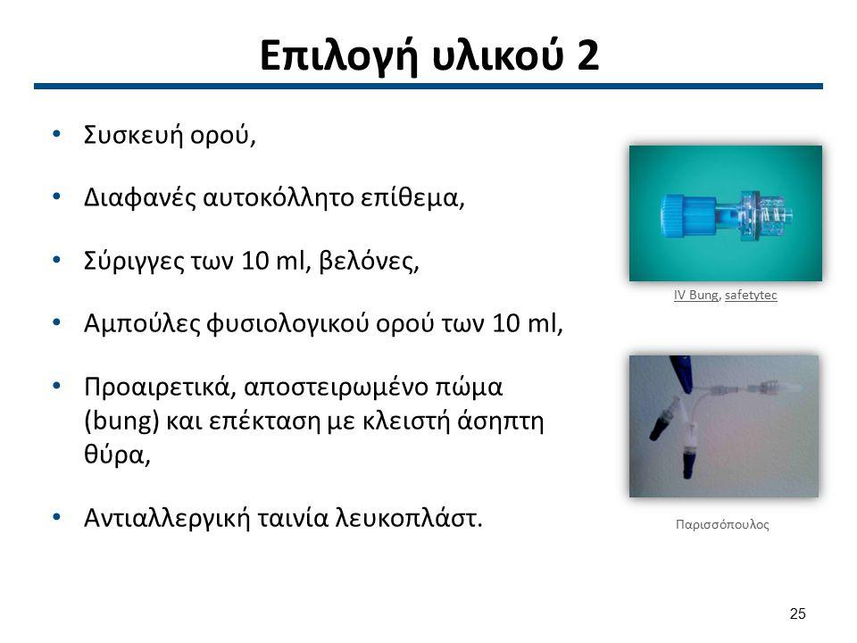 Επιλογή υλικού 2 Συσκευή ορού, Διαφανές αυτοκόλλητο επίθεμα, Σύριγγες των 10 ml, βελόνες, Αμπούλες φυσιολογικού ορού των 10 ml, Προαιρετικά, αποστειρω