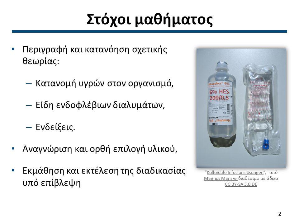 Εισαγωγή 8 στους 10 ασθενείς που νοσηλεύονται σε νοσοκομεία λαμβάνουν ενδοφλέβια θεραπεία (Wilson 2001), Ο νοσηλευτής είναι υπεύθυνος για την έναρξη, την παρακολούθηση και τη διακοπή της θεραπείας, Πρέπει να κατανοεί την ανάγκη του ασθενούς για ενδοφλέβια θεραπεία, το είδος του διαλύματος που χρησιμοποιείται, το επιθυμητό αποτέλεσμα και τις ανεπιθύμητες αντιδράσεις που μπορεί να προκληθούν.