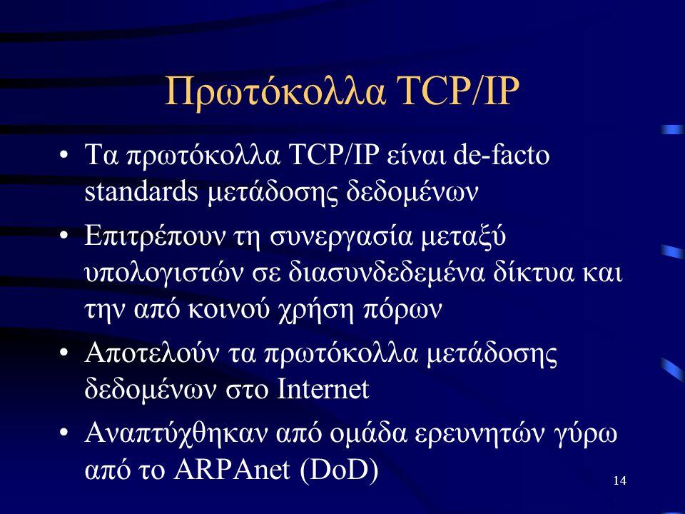 14 Πρωτόκολλα TCP/IP Τα πρωτόκολλα TCP/IP είναι de-facto standards μετάδοσης δεδομένων Επιτρέπουν τη συνεργασία μεταξύ υπολογιστών σε διασυνδεδεμένα δίκτυα και την από κοινού χρήση πόρων Αποτελούν τα πρωτόκολλα μετάδοσης δεδομένων στο Internet Αναπτύχθηκαν από ομάδα ερευνητών γύρω από το ARPAnet (DoD)