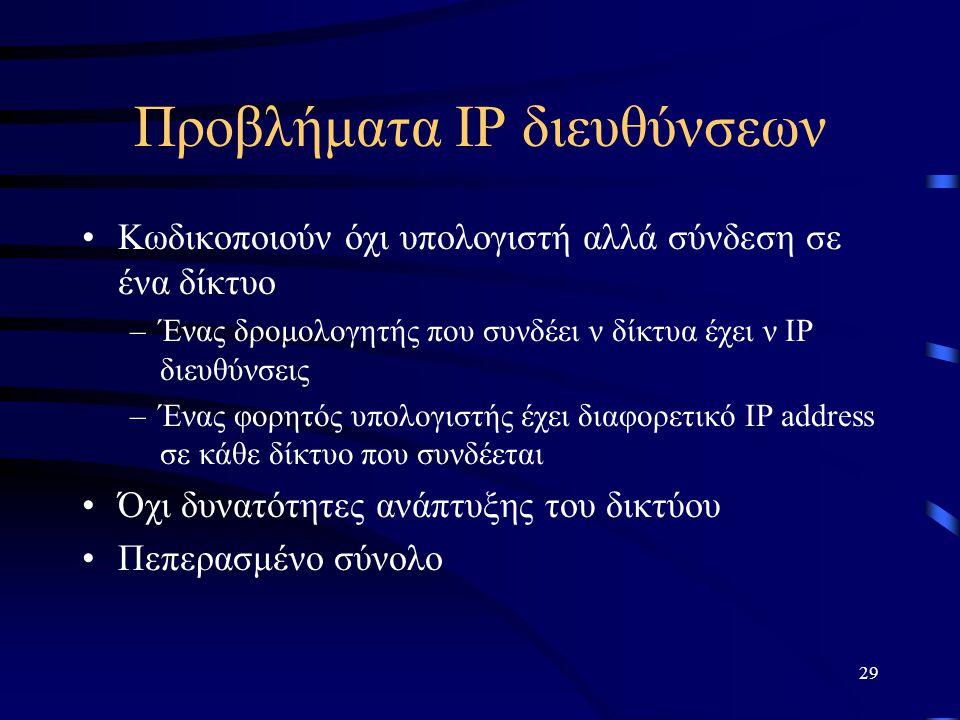 29 Προβλήματα IP διευθύνσεων Κωδικοποιούν όχι υπολογιστή αλλά σύνδεση σε ένα δίκτυο –Ένας δρομολογητής που συνδέει ν δίκτυα έχει ν IP διευθύνσεις –Ένας φορητός υπολογιστής έχει διαφορετικό IP address σε κάθε δίκτυο που συνδέεται Όχι δυνατότητες ανάπτυξης του δικτύου Πεπερασμένο σύνολο