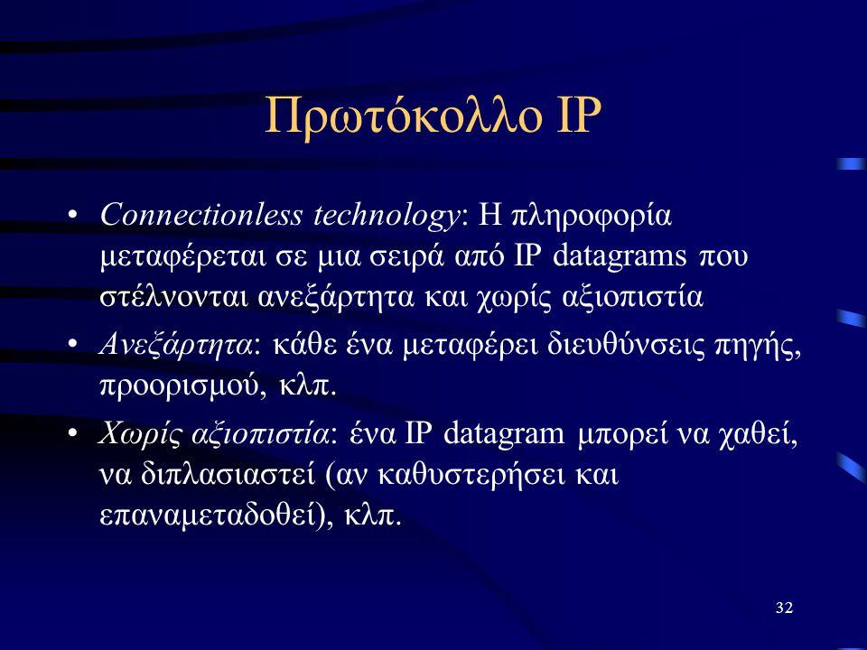 32 Πρωτόκολλο IP Connectionless technology: Η πληροφορία μεταφέρεται σε μια σειρά από IP datagrams που στέλνονται ανεξάρτητα και χωρίς αξιοπιστία Ανεξάρτητα: κάθε ένα μεταφέρει διευθύνσεις πηγής, προορισμού, κλπ.