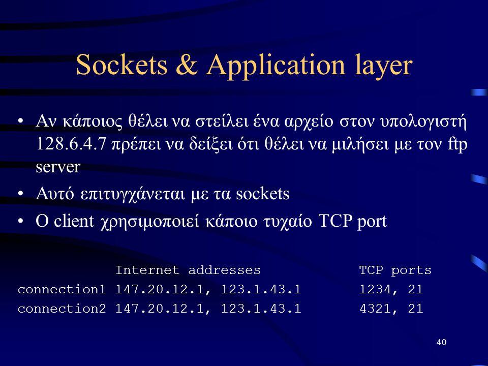 40 Sockets & Application layer Αν κάποιος θέλει να στείλει ένα αρχείο στον υπολογιστή 128.6.4.7 πρέπει να δείξει ότι θέλει να μιλήσει με τον ftp server Αυτό επιτυγχάνεται με τα sockets Ο client χρησιμοποιεί κάποιο τυχαίο TCP port Internet addressesTCP ports connection1147.20.12.1, 123.1.43.11234, 21 connection2147.20.12.1, 123.1.43.14321, 21