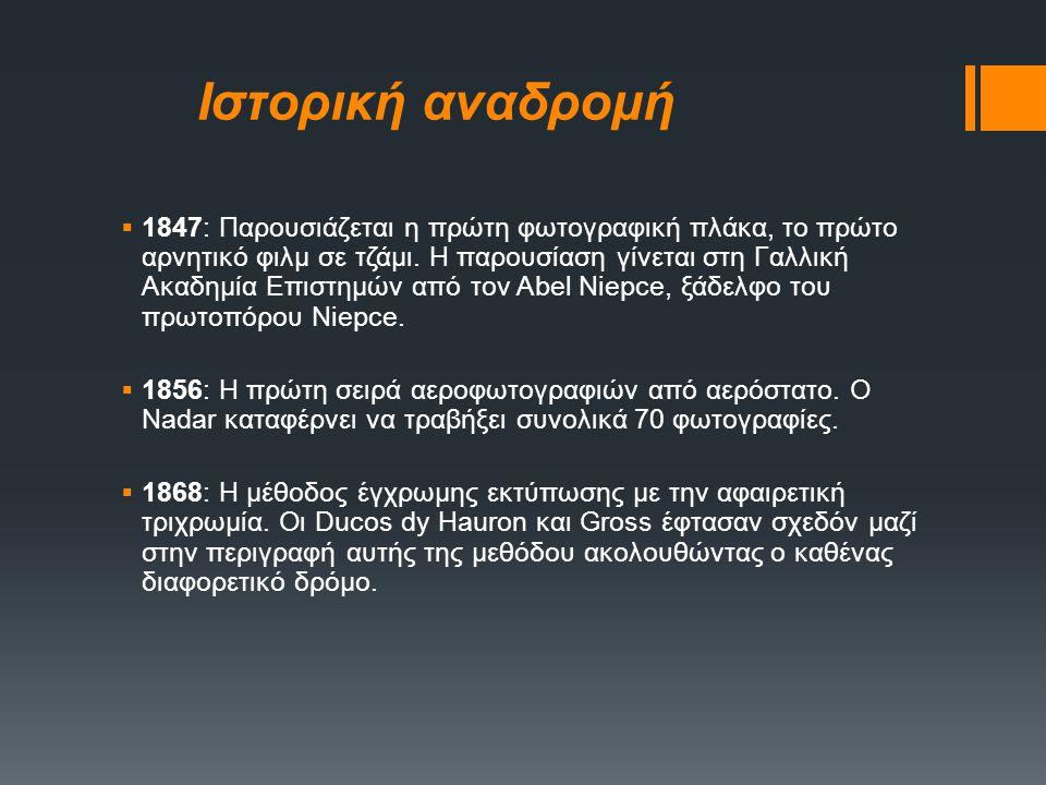 Ιστορική αναδρομή  1829: Ο Niepce και ο Daguerre υπογράφουν συμβόλαιο συνεργασίας και αρχίζουν να ενημερώνουν ο ένας τον άλλο για την πρόοδό τους στη