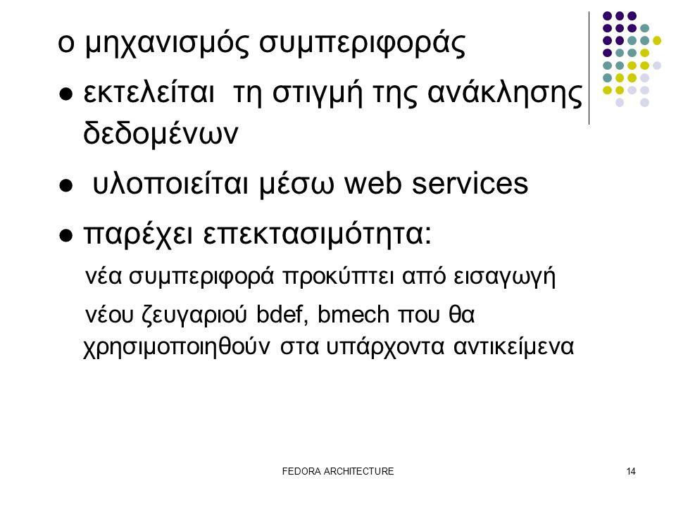 FEDORA ARCHITECTURE14 ο μηχανισμός συμπεριφοράς εκτελείται τη στιγμή της ανάκλησης δεδομένων υλοποιείται μέσω web services παρέχει επεκτασιμότητα: νέα συμπεριφορά προκύπτει από εισαγωγή νέου ζευγαριού bdef, bmech που θα χρησιμοποιηθούν στα υπάρχοντα αντικείμενα