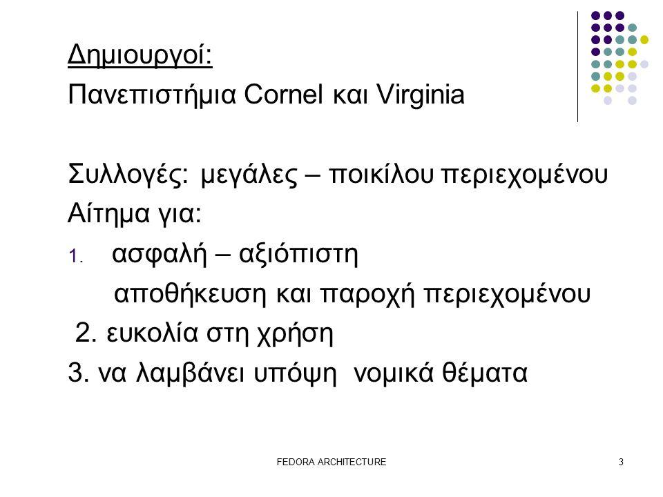 FEDORA ARCHITECTURE3 Δημιουργοί: Πανεπιστήμια Cornel και Virginia Συλλογές:μεγάλες – ποικίλου περιεχομένου Αίτημα για: 1.