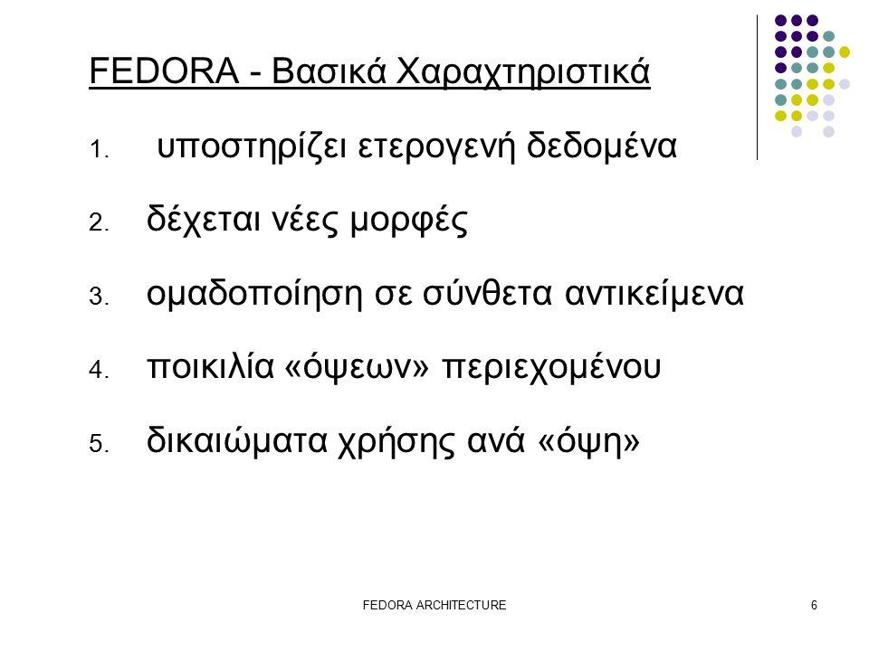 FEDORA ARCHITECTURE6 FEDORA - Βασικά Χαραχτηριστικά 1.