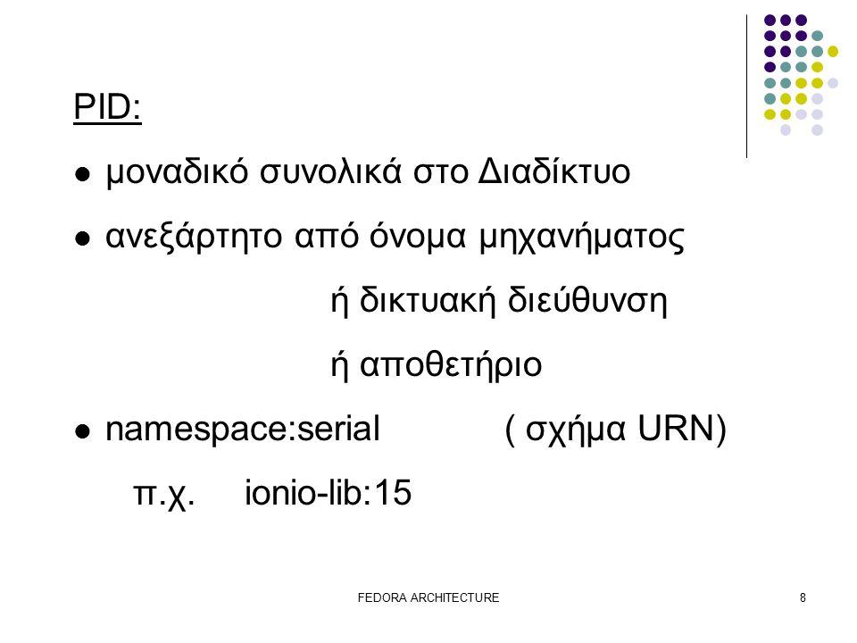 FEDORA ARCHITECTURE8 PID: μοναδικό συνολικά στο Διαδίκτυο ανεξάρτητο από όνομα μηχανήματος ή δικτυακή διεύθυνση ή αποθετήριο namespace:serial ( σχήμα URN) π.χ.