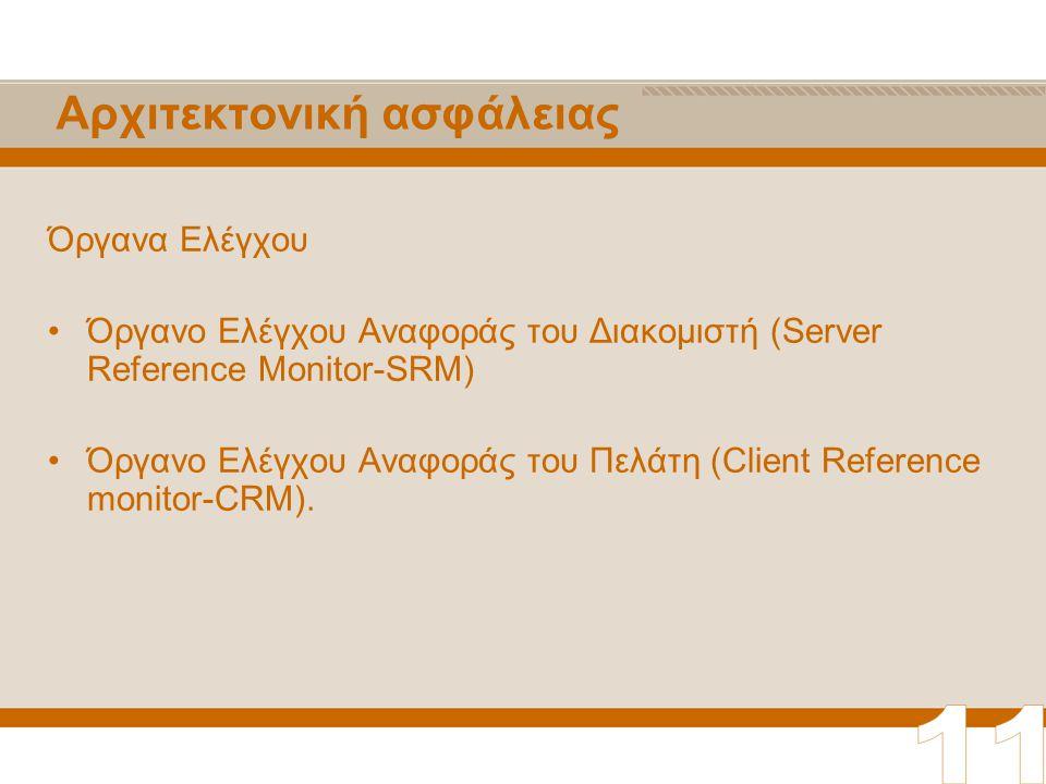 Αρχιτεκτονική ασφάλειας Όργανα Ελέγχου Όργανο Ελέγχου Αναφοράς του Διακομιστή (Server Reference Monitor-SRM) Όργανο Ελέγχου Αναφοράς του Πελάτη (Client Reference monitor-CRM).
