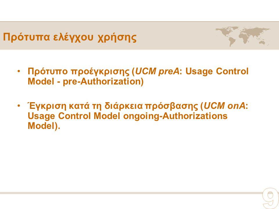 Πρότυπα ελέγχου χρήσης Πρότυπο προέγκρισης (UCM preA: Usage Control Model - pre-Authorization) Έγκριση κατά τη διάρκεια πρόσβασης (UCM onA: Usage Control Model ongoing-Authorizations Model).