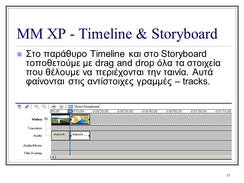 11 ΜΜ XP - Timeline & Storyboard Στο παράθυρο Τimeline και στο Storyboard τοποθετούμε με drag and drop όλα τα στοιχεία που θέλουμε να περιέχονται την