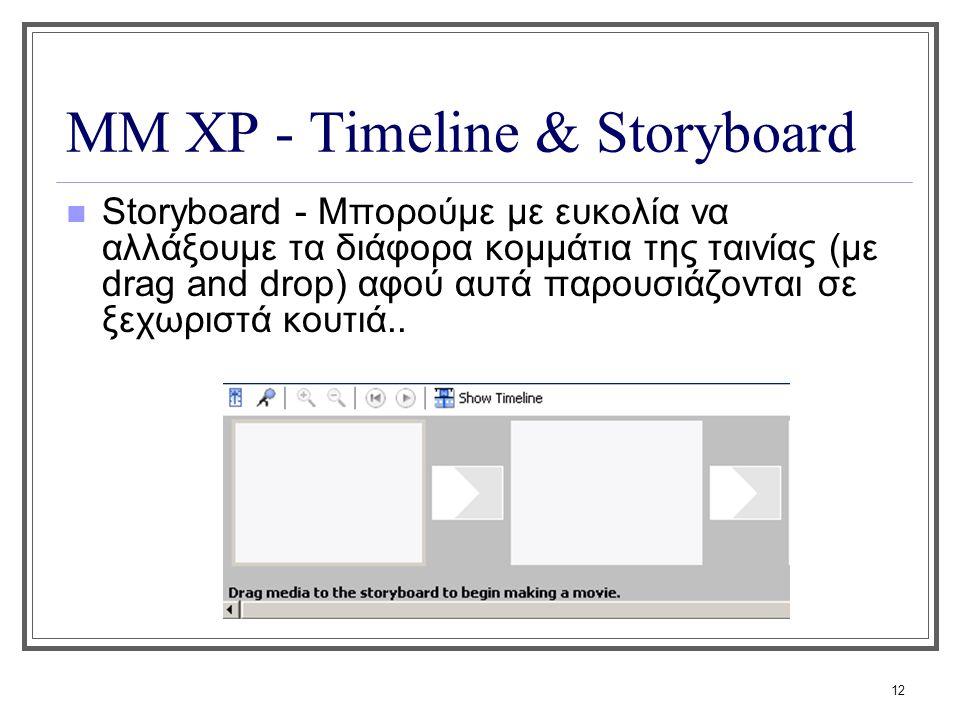 12 ΜΜ XP - Timeline & Storyboard Storyboard - Μπορούμε με ευκολία να αλλάξουμε τα διάφορα κομμάτια της ταινίας (με drag and drop) αφού αυτά παρουσιάζο