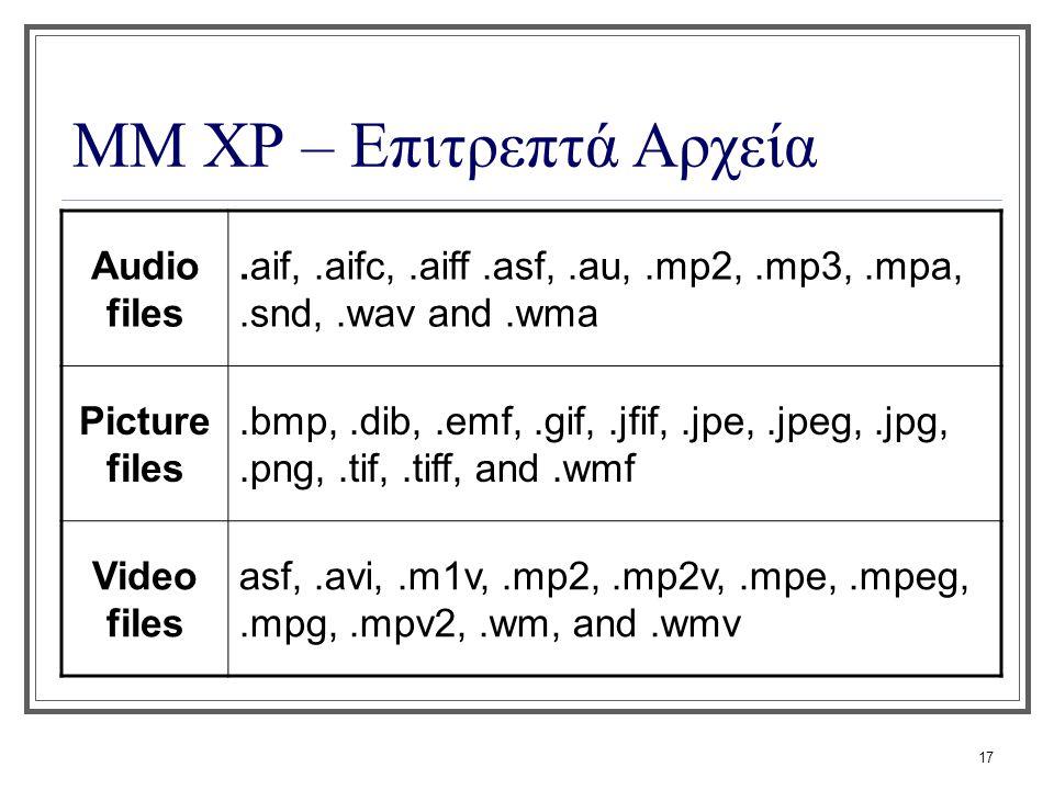 17 ΜΜ XP – Επιτρεπτά Αρχεία Audio files.aif,.aifc,.aiff.asf,.au,.mp2,.mp3,.mpa,.snd,.wav and.wma Picture files.bmp,.dib,.emf,.gif,.jfif,.jpe,.jpeg,.jp