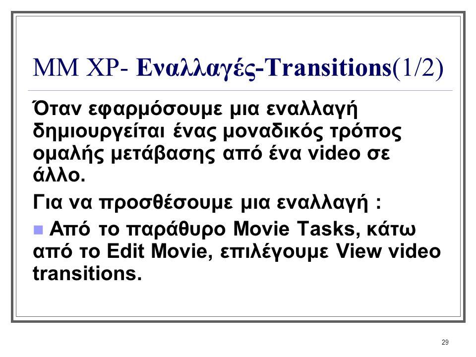 29 ΜΜ XP- Εναλλαγές-Transitions(1/2) Όταν εφαρμόσουμε μια εναλλαγή δημιουργείται ένας μοναδικός τρόπος ομαλής μετάβασης από ένα video σε άλλο. Για να
