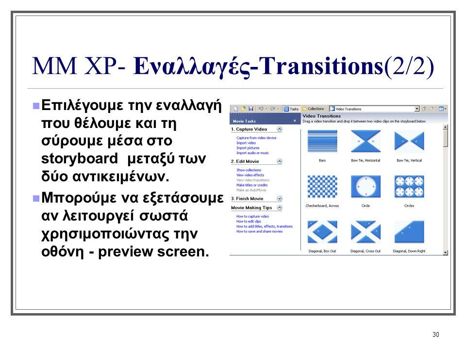 30 ΜΜ XP- Εναλλαγές-Transitions(2/2) Επιλέγουμε την εναλλαγή που θέλουμε και τη σύρουμε μέσα στο storyboard μεταξύ των δύο αντικειμένων. Μπορούμε να ε